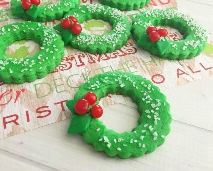 Christmas Cookies Shaped Like Wreaths