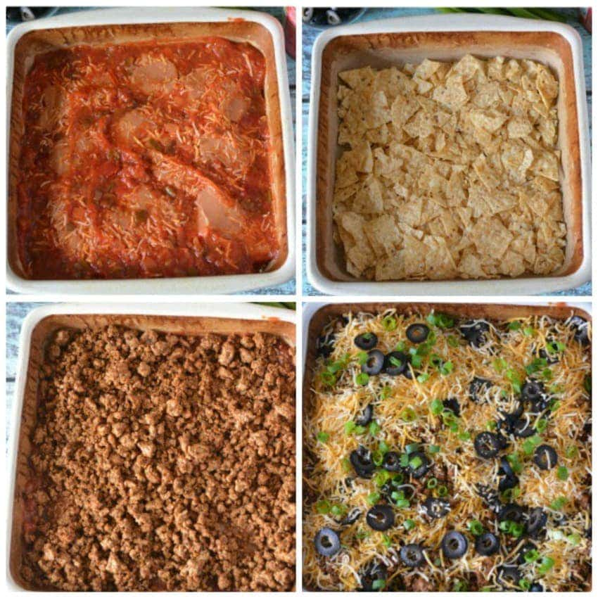 Ingredients and step by step for Taco Bake