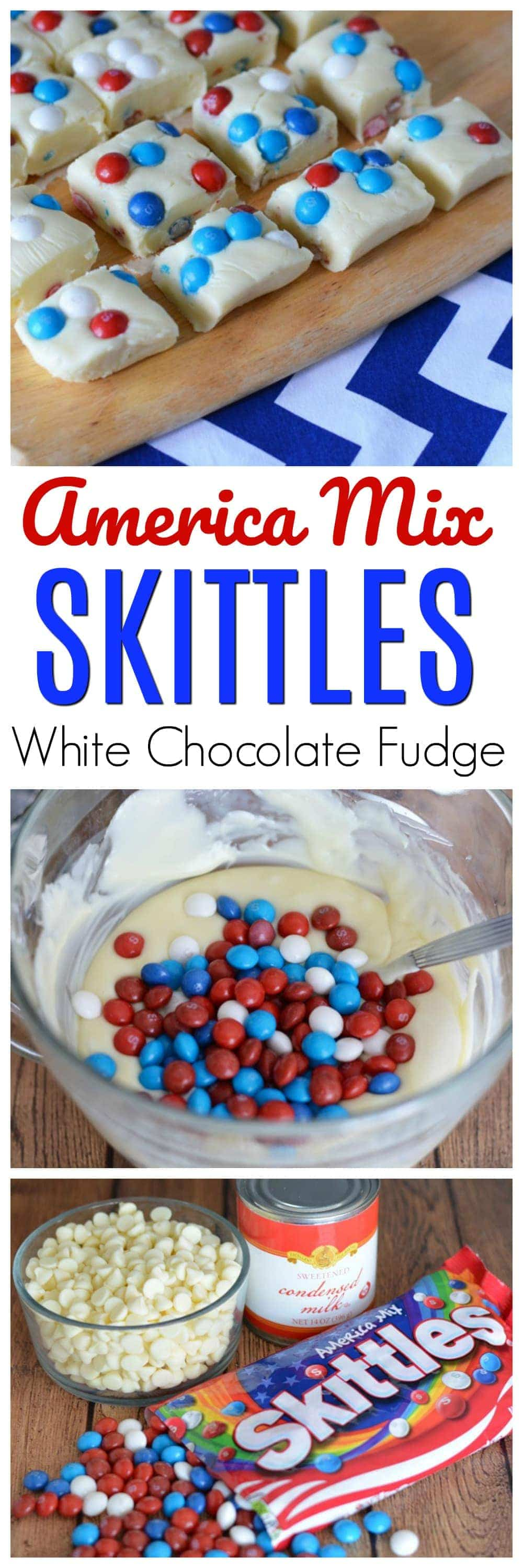 The Fourth of July is almost here and what better way to add some patriotic flair to your treats than with Skittles America Mix White Chocolate Fudge.