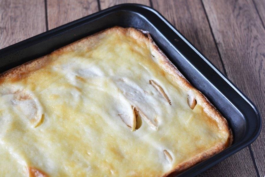 caramel apple cheesecake in baking pan
