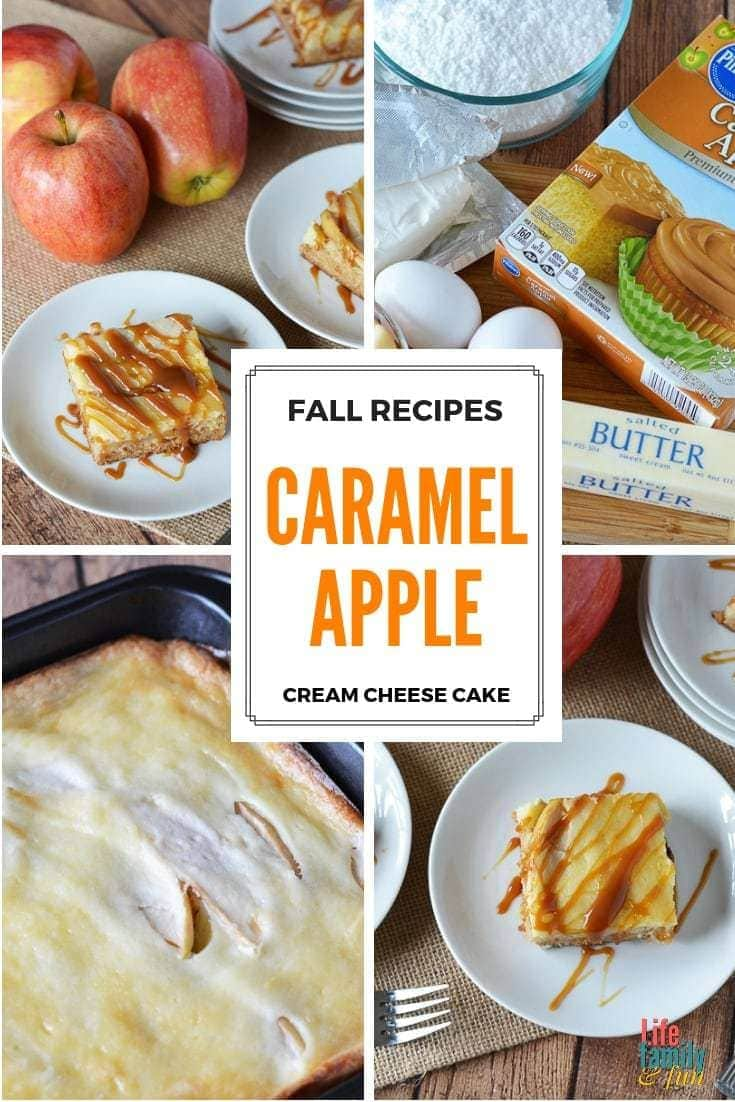 This easy Caramel Apple Cream Cheese Cake Recipe is so amazing that, if you decide to make it, people will think that you slaved over it in the kitchen. #CaramelAppleCake #AppleCheeseCake