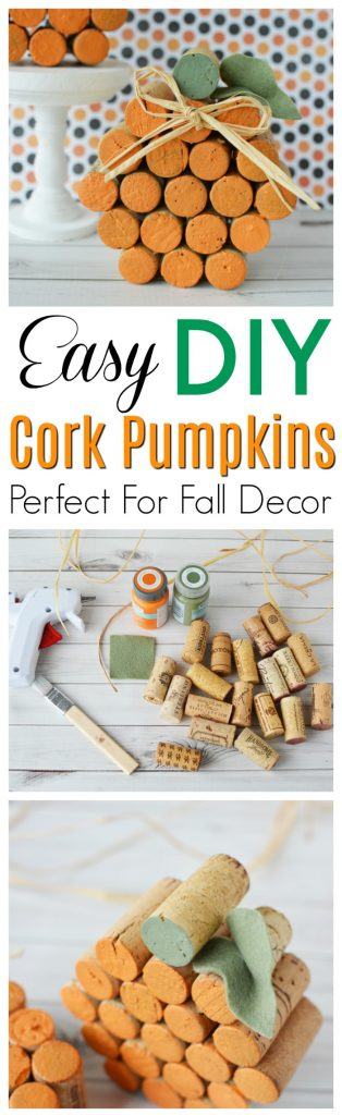 This Easy DIY wine cork pumpkin is the perfect idea for Fall, Halloween, and Thanksgiving crafts or decor. Get the tutorial here.