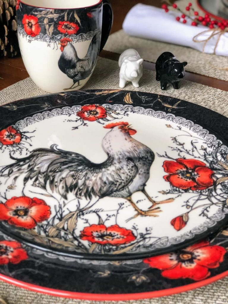rooster dinnerware set