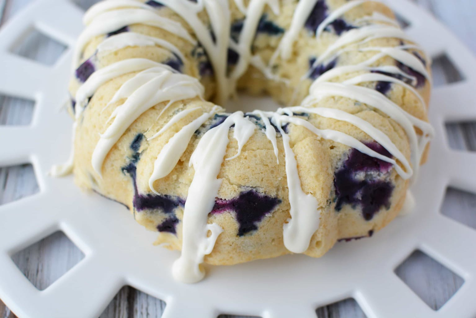 blueberry breakfast cake drizzled with white icing