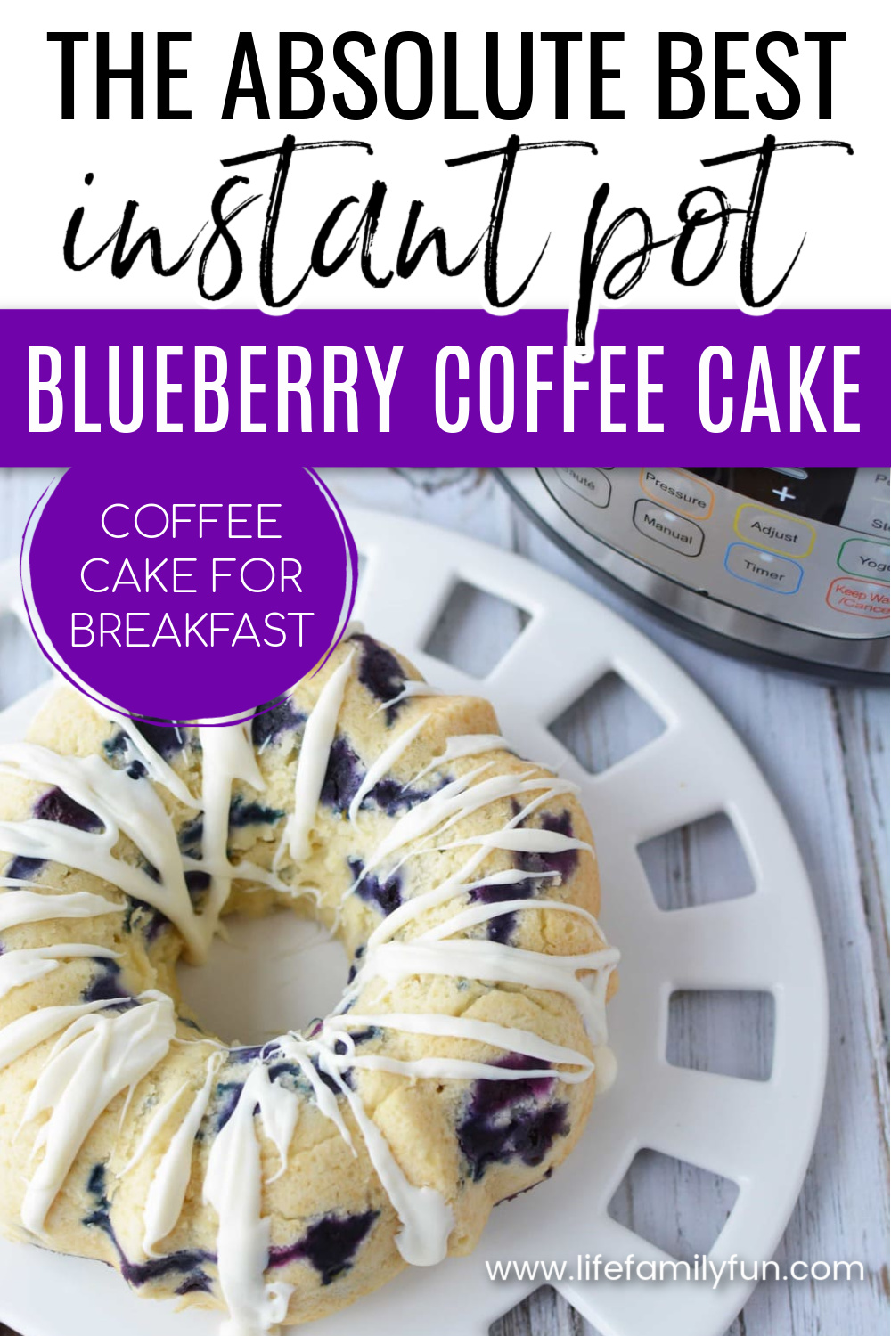 instant pot blueberry coffee cake pin for pinterest