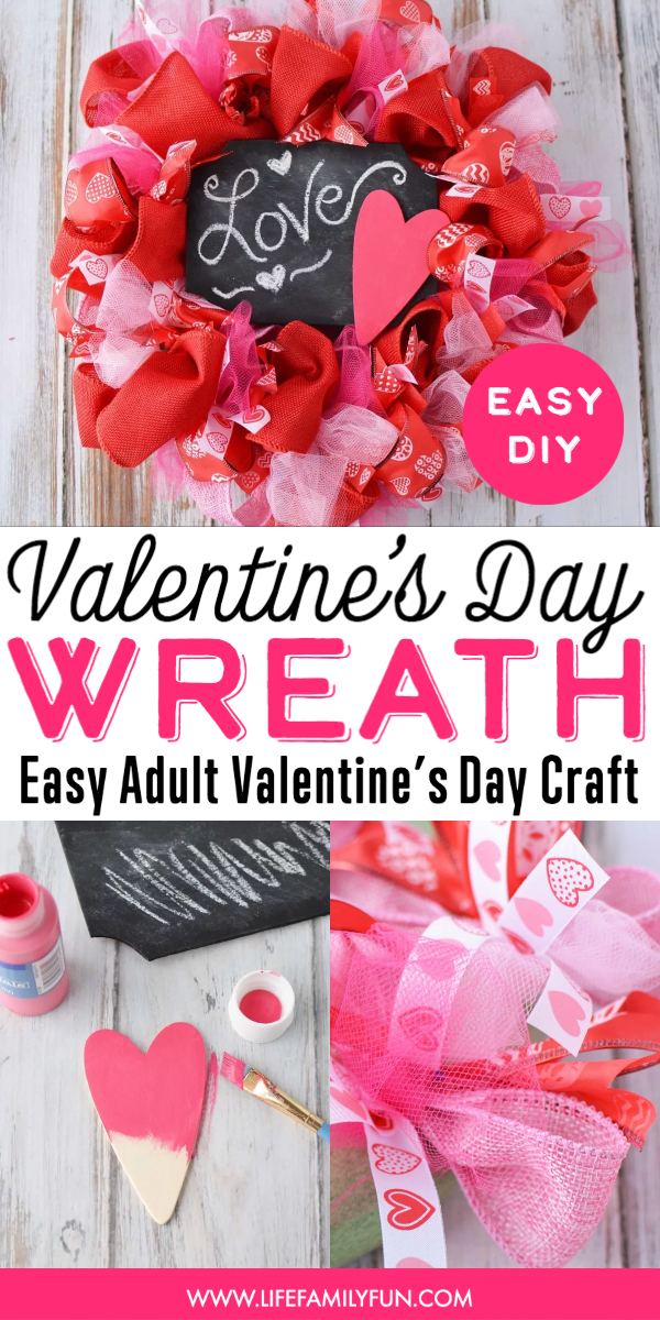 Valentine's Day Wreath DIY, how to make a deco mesh wreath for valentine's day, valentine's day door decorations