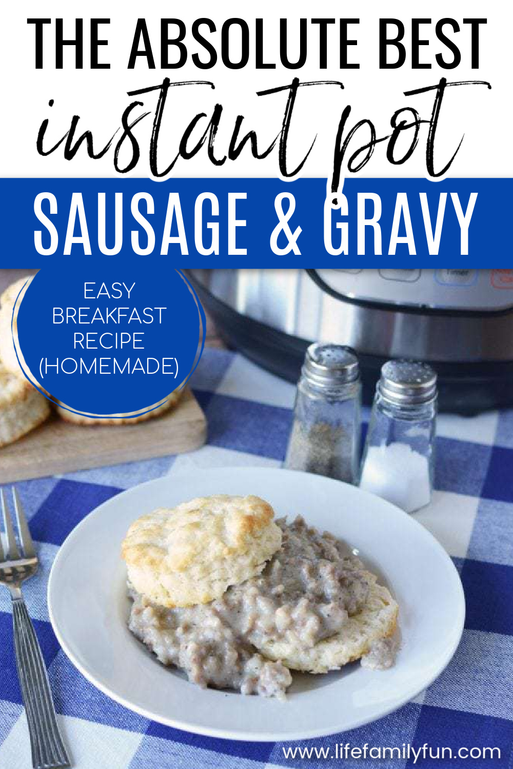instant pot sausage and gravy pin for pinterest