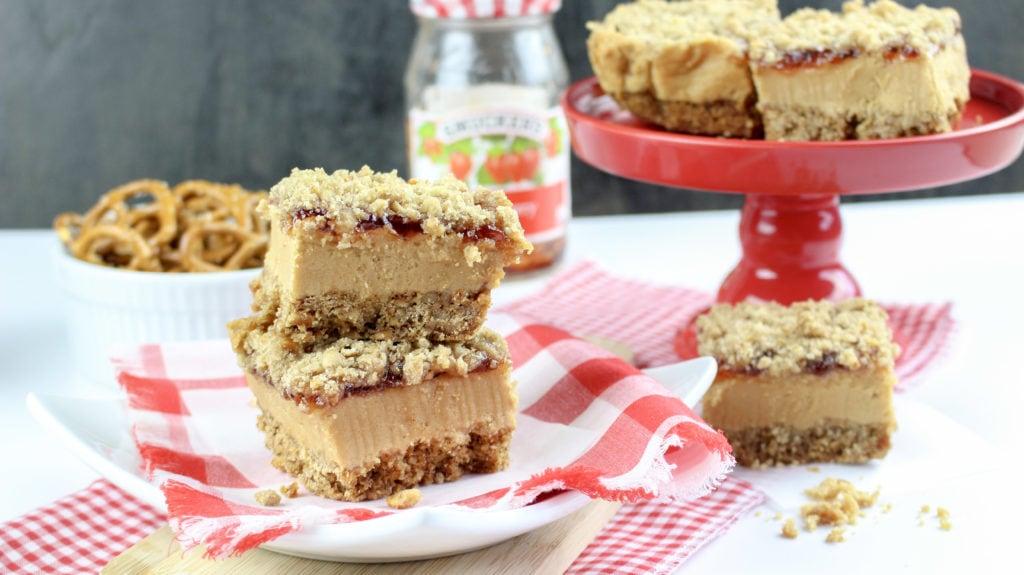 Peanut Butter & Jelly Pretzel Bars
