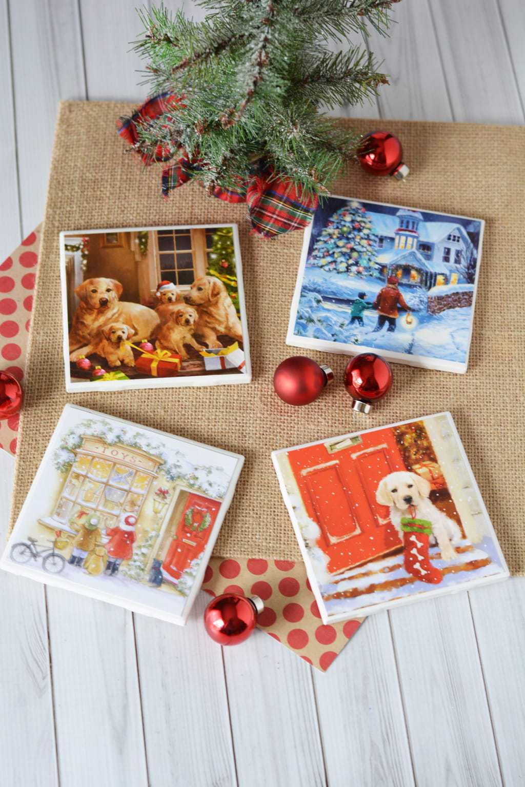 DIY Christmas Coasters made with Christmas Cards and Tile Squares
