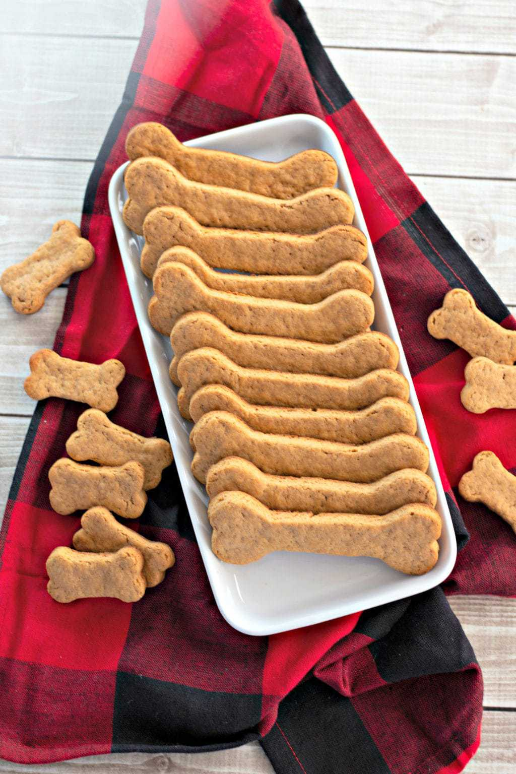 Homemade Dog Treats Made With Peanut Butter, served on White tray