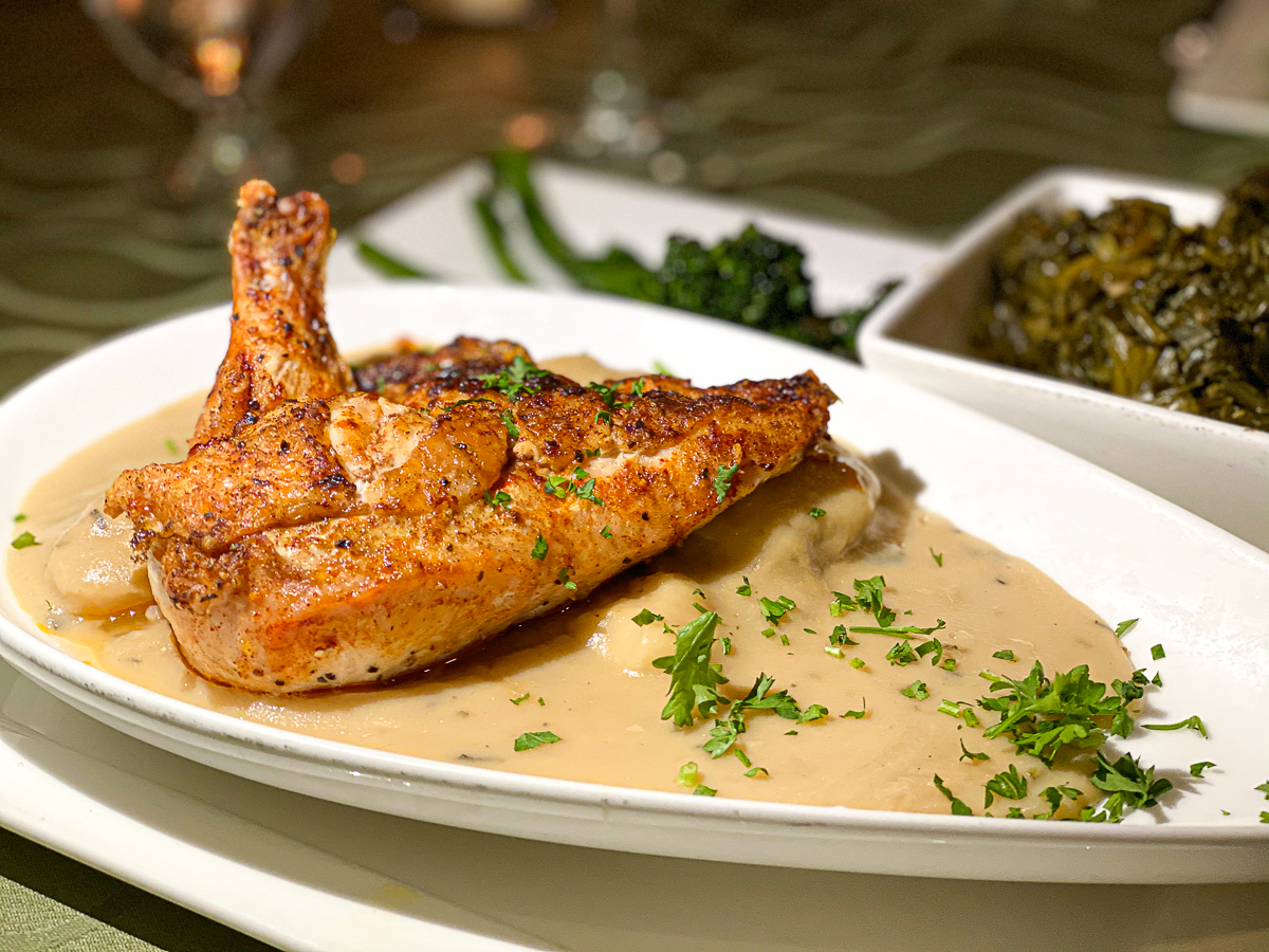 Chicken Thigh and Dumplings served at the Echo Restaurant