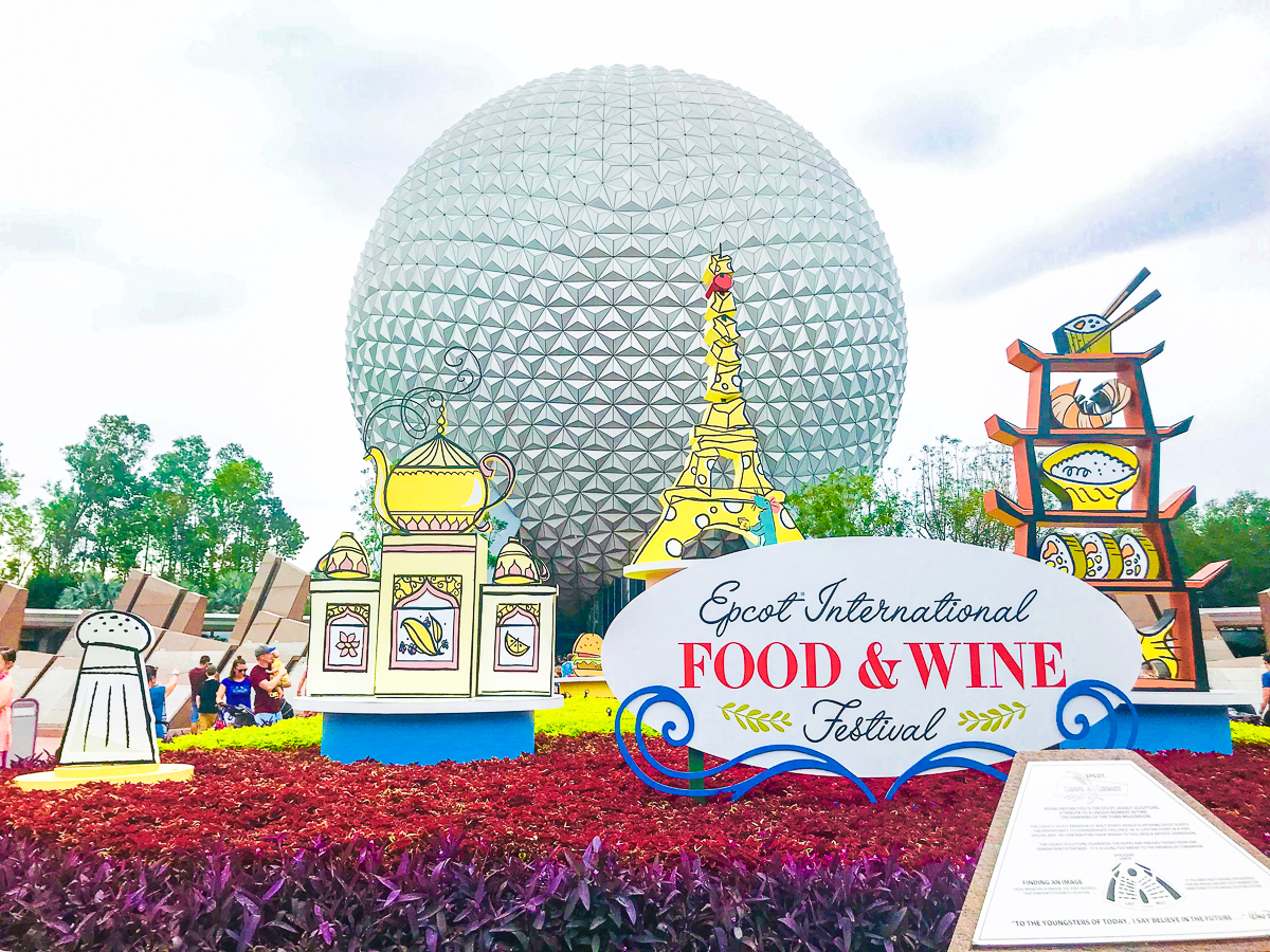 Epcot in Disney World, Food and Wine Festival sign