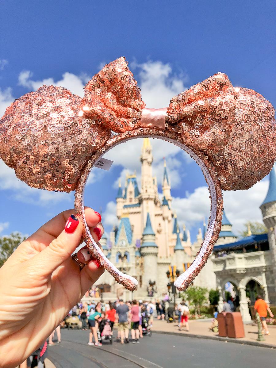 Disney rose gold Ears Headband in Magic Kingdom, a perfect Disney World Souvenir Must-Have