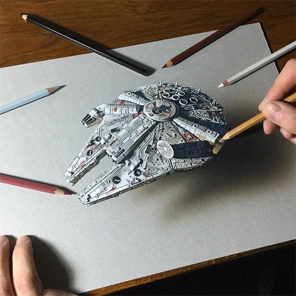 Draw the Millennium Falcon