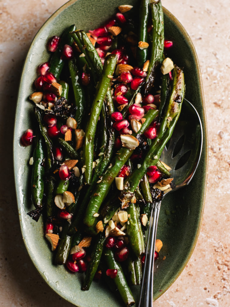 Green Beans with Almonds and Pomegranate Seeds