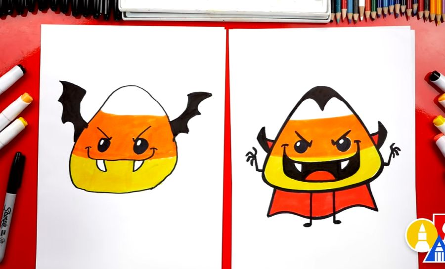 How To Draw A Candy Corn Bat & Vampire For Halloween