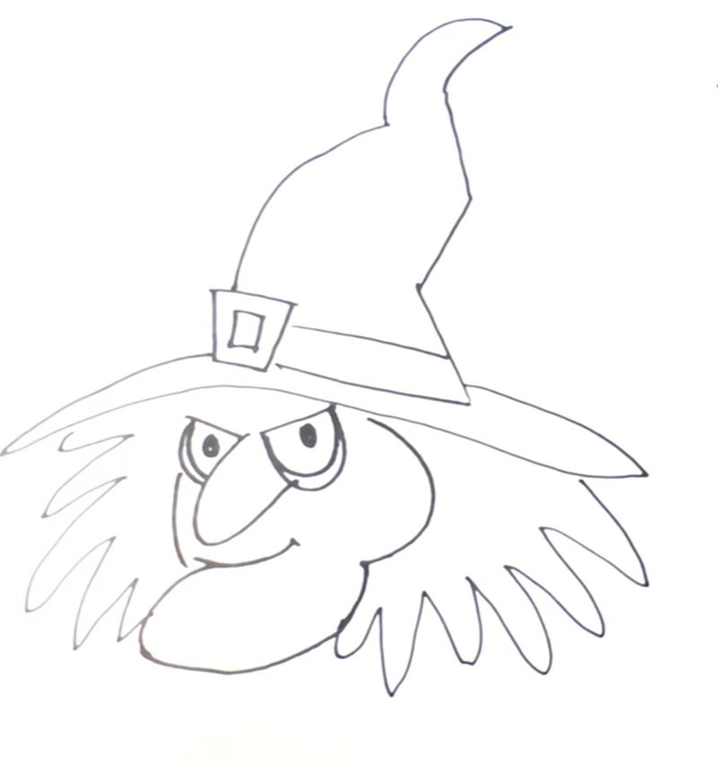 How to draw a Witch for Kids
