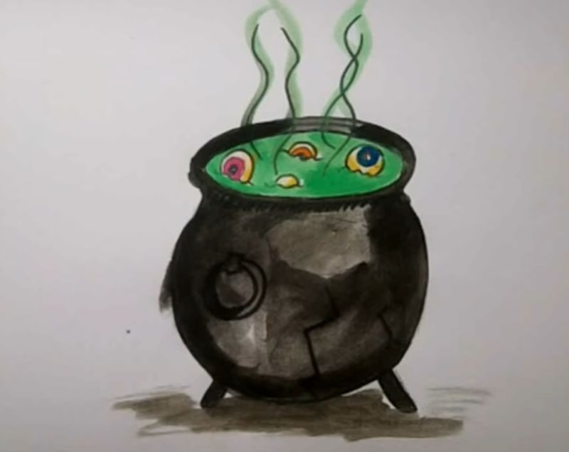 How to draw a Witch's Cauldron for Halloween
