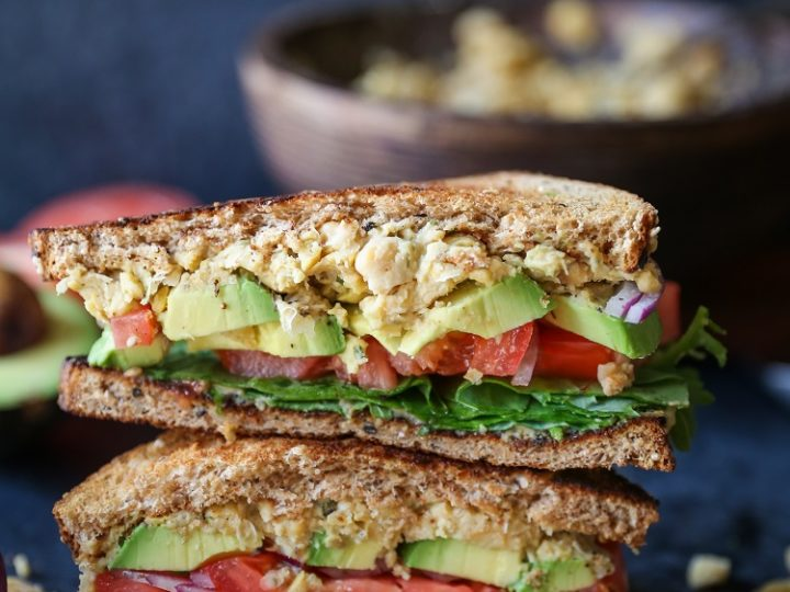 Hummus Mashed Chickpea and Avocado Sandwiches