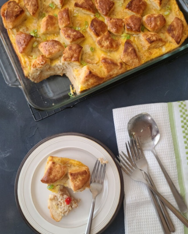 Onion and Pepper Biscuit and Gravy Casserole