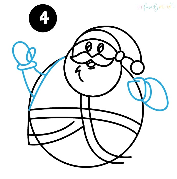 Draw Santa's Arms and Hands
